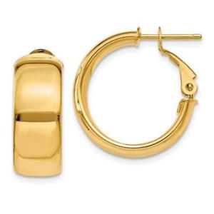 14k Yellow Gold High Polished Design Flat Tube Italian Made Hoop Earrings Gift