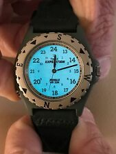 TIMEX EXPEDITION WATCH with GREEN LEATHER BAND with INDIGLO NWOT