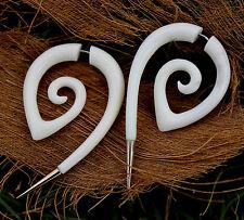 Tribal Spiral White Bone Earring, Silver Tip,  Fake Gauge, Split Gauge