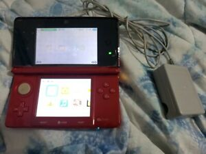Nintendo 3DS Handheld System - Flame Red w/ Charger and 2GB Memory Card