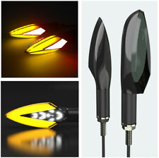 2Pcs Water Flowing Motorcycle Yellow + White Led Turn Signal Indicator Lights &