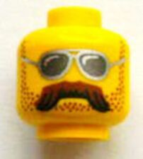 LEGO - Minifig, Head w/ Sunglasses, Moustache Brown Bushy and Stubble - Yellow