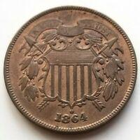 1864 TWO CENT PIECE EXCELLENT XF/AU ORIGINAL COIN NICE!