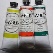 3 Gamblin Oil Paint's-Cadmium Green, Orange & Viridian- 37ml-all Series 4