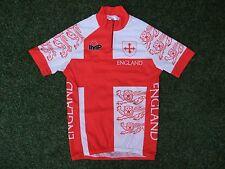 Team England 3 Three Lions Flag Retro Vintage SS Top Cycling Bike Jersey VGC ~ S