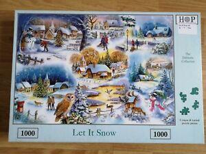 HOP - LET IT SNOW  1000 piece Jigsaw Puzzle COMPLETE Village Winter Scene Owl