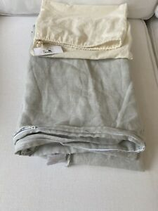 Restoration Hardware Garment-Dyed Washed Cotton Linen Duvet Cover Twin Mist