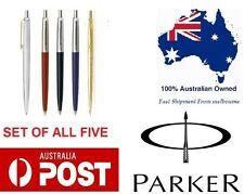Parker Jotter Ball Pen Set of 5 Stainless steel Gold Black Blue Red New Gift box