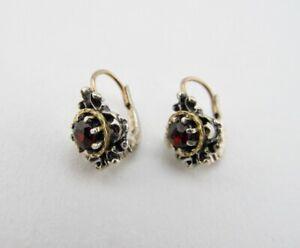 Antike Trachten Ohrringe in 835 Silber mit Granat Steine