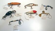 ANTIQUE WOOD LURES & GLASS SPINNERS Hula Heddon Bomber Houser Hildebrand - Lot 1