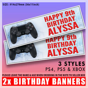 """2 PERSONALISED CONTROLLER XBOX PS4 PS5 BIRTHDAY BANNERS ANY NAME & AGE  36x11"""""""