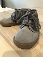 Old Navy size 10 Boys Lace up Shoes High Top gray grey faux suede and knit