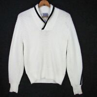 Vintage 60s Penneys Towncraft Shawl Collar Chunky Pullover Sweater M White Orlon