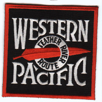 """RAILROAD PATCH  - Western Pacific Railroad the Feather Route 3 3/4"""""""