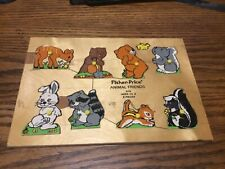 Vintage 1970s Fisher Price Animal  Friends Wooden Puzzle #519 8 pieces