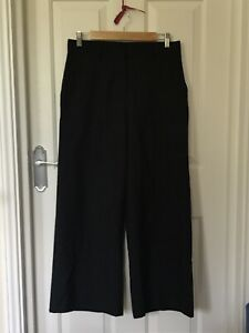 Margaret Howell Navy Thin 100%Wool Wide Legs Trousers S 8 British Designer Chic