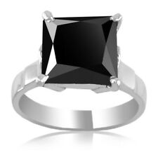 3ct,Princess Cut Black Diamond Solitaire Engagement Wedding Ring in Silver