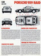 Prospekt Montageanleitung Modellauto Kit Bburago Porsche 959 Raid Modellbau-Set