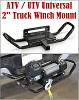 """ATV UTV Universal Winch Mount Plate 2"""" Receiver Hitch with Handle"""