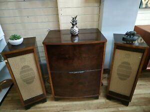 Vintage HMV 1641 Record Player & Radiogram Garrard RC 121 + Speakers Burr Walnut