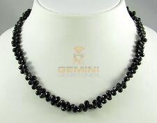 Spinell Kette schwarz aus facettierten Briolettes Halskette für Damen 46 cm