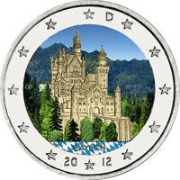 2 Euro Gedenkmünze BRD / Deutschland 2012 Bayern coloriert Farbe / Farbmünze