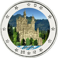 5x 2 Euro Gedenkmünze BRD 2012 ADFGJ Bayern coloriert / Farbe / Farbmünze