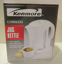 Kenmore white cordless electric jug kettle -2 litre - auto shut off - new in box