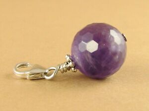 Amethyst clip-on charm/ pendant. Faceted ball. handmade. Sterling silver 925.