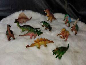 """11 Vintage Dinosaur Toy Figures 1990s U.K.R.D Scientific names on bellies are 3"""""""