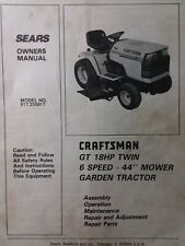 Sears Craftsman GT 18 twin 6sp 1988 Lawn Garden Tractor Owners Manual 917.255917