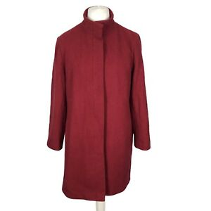 New Look Size 18 Red Wool Blend Warm Lined Winter Smart Mid Length Coat