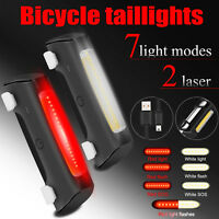 LED USB Rechargeable Bicycle Bike Cycling Front Tail Rear Light Warning Lamp US