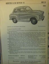 * Austin A30 A 30 Seven Datenblatt  Typenblatt original 1952 *