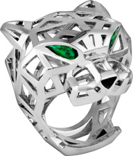 1.00CT CERTIFIED CARTIER PANTHER PEAR GREEN 925 SILVER WEDDING SOLITAIRE RING