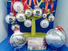 12 1950s-1990s 35-85mm glass plastic silver white Christmas baubles ornaments