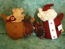 New~Russ Christmas Sampler Stuffed Ornaments/Decorations~San ta & Teddy Bear~Nwt