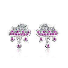 Ladies 925 Sterling Silver Cute Purple Crystal Cloud Raindrop Stud Drop Earrings