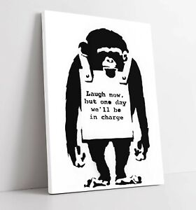 BANKSY MONKEY SIGN CANVAS WALL ART FLOAT EFFECT/FRAME/PICTURE/POSTER PRINT-BLACK