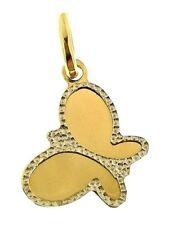 Ciondolo Pendente Farfalla Donna Oro Giallo Bianco 18 Kt Carati Ct 750 0,75 Gr