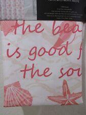 """Coastal Beach Nautical Sea Shells Peach Orange Fabric Shower Curtain 70"""" x 72"""""""