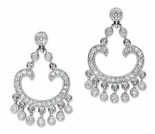 PalmBeach Jewelry 1.13 TCW Cubic Zirconia Chandelier Earrings Platinum-Plated