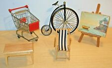 Miniature Items - PENNY FARTHING/ TROLLEY/ DECK CHAIR/ EASEL & PICTURE/ TABLE