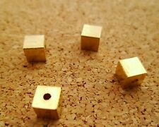 50pcs 4mm Yellow Solid Raw Brass Square Cubic Beads / Spacers Hole Size 1mm