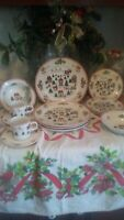The Joy Of Christmas Dinnerware Set Jamestown China Holiday 20 Pc VINTAGE