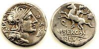 Republica Romana-Sergia. Denario. 116-115 a.C. Roma. MBC+/VF+. Plata 3,9 g.
