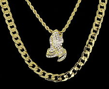 """Praying Hands Cz Pendant 24"""" Rope & 30"""" Cuban Link Solid Chain 3pc Set"""