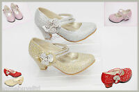 GIRLS KIDS PARTY WEDDING SANDALS SHOES SIZE DIAMANTE LOW HEEL MARY JANE STYLE