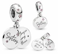 Genuine Pandora ALE 925 Sterling Silver Forever Sisters Dangle Charm 798012FPC