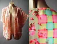 Sale Bright Floral Print Gingham Check Spring Summer Cover Up 95 mv Jacket S M L